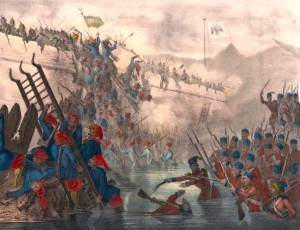 The Crimean War of 1853-56 became a big power confrontation resulting in 500,000 dead soldiers from Russia, Turkey, France, and Britain and Italy Here, Turkish soldiers storm a Russian fort.
