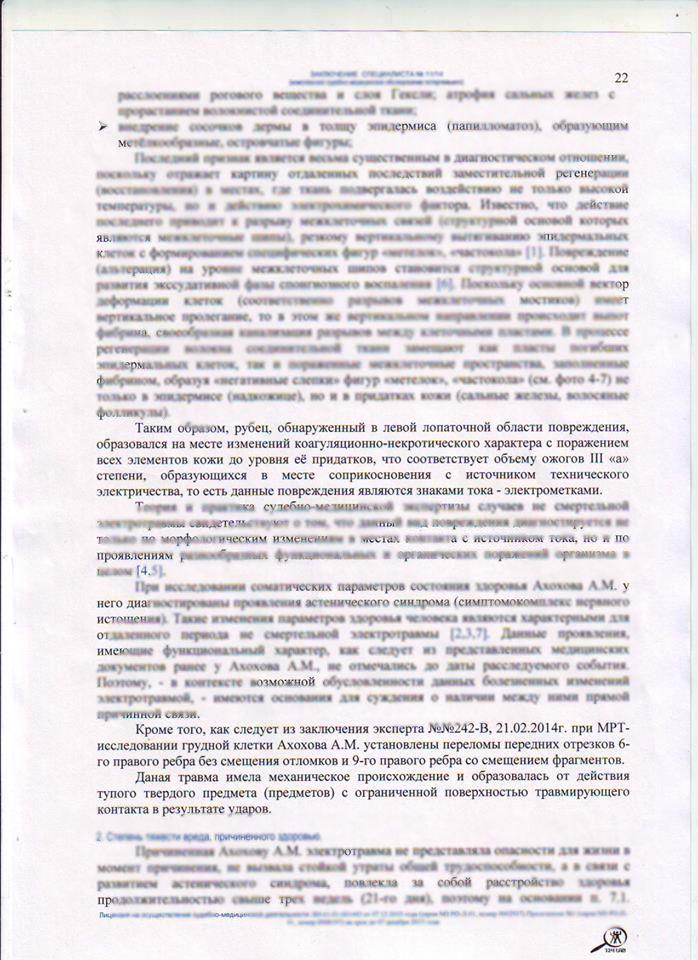 Копия страницы о наличии рубцов от ожогов электроприбором