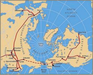 По железной дороге, от Нью-Йорка в Москву и дальше в Лондон! Для завершения этой Трансберинговой железнодорожной магистрали нужно проложить всего 10 тысяч километров путей. Карта: Виктор Разбегин
