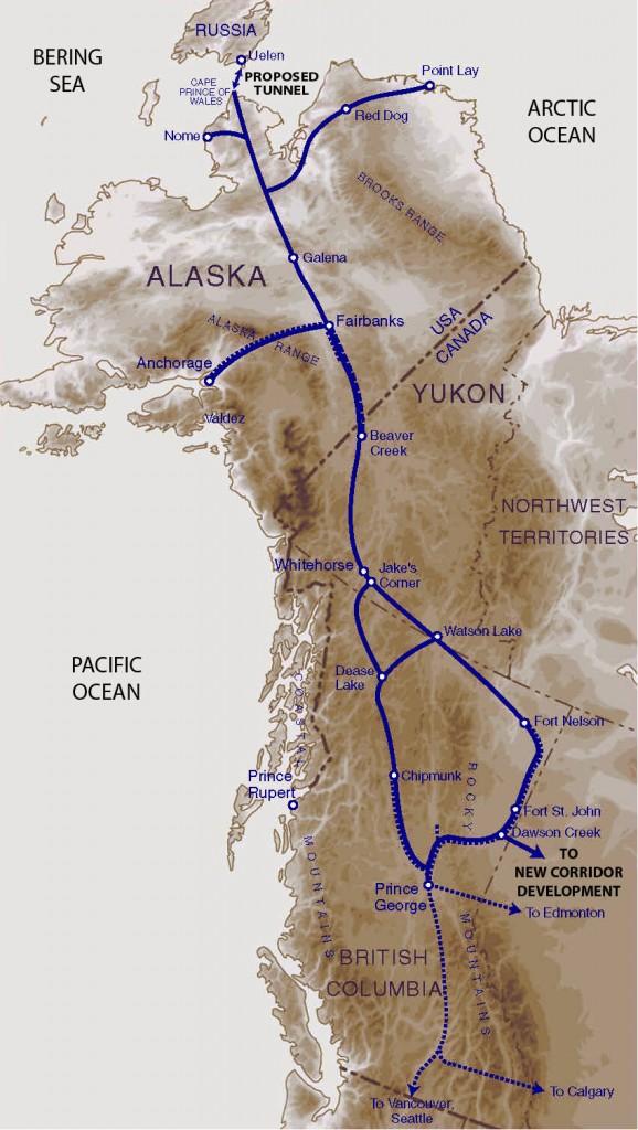 На североамериканской стороне надо будет проложить почти 5 тысяч километров железнодорожных путей, чтобы соединить магистраль с существующей грузовой железнодорожной сетью: на восток от Берингова пролива к Фэрбенксу, штат Аляска, затем на юго-восток к Форт-Нельсону, провинция Британская Колумбия, Канада. Карта: InterBering