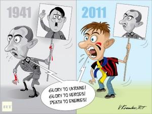 Следуя примеру своего предшественника в «Крокодиле» и «Правде», карикатурист RT Владимир Кремлев равно высмеивает как американских лидеров, так и украинских националистов.  Фото: RT