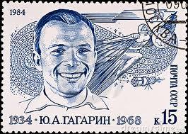 Советская марка, посвященная Гагарину. Первый космонавт погиб в 1968 году во время тренировочного полета на МИГ-15