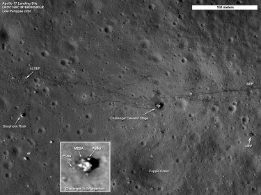 Apollo 17 landing site as seen by NASA's Lunar Reconnaissance Orbiter (Photo: NASA/Goddard/ASU)