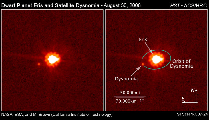 On 30 Aug 2006 the Hubble Space Telescope and the Keck Observatory took images of Dysnomia's movement (Photo: NASA/ESA and M. Brown (Caltech))