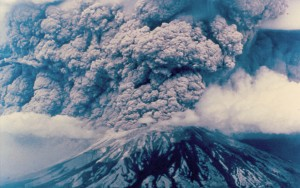 The Mt. St. Helens eruption of May 18, 1980, sent volcanic ash, steam, water, and debris to a height of 60,000 feet. About two-thirds of a cubic mile of material was ejected. In comparison, the Toba supereruption, one of the Earth's largest known eruptions, was ~1000 times more (Photo: Washington State Department of Natural Resources)