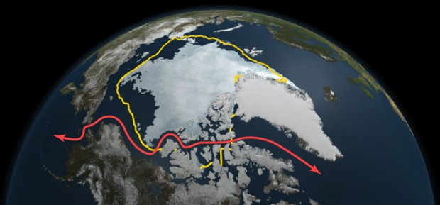 NASA satellite data reveals how this year's minimum sea ice extent, reached on Sept. 9 as depicted here, declined to a level far smaller than the 30-year average (in yellow) and opened up Northwest Passage shipping lanes (in red). (Graphic: NASA Goddard's Scientific Visualization Studio)