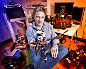 Professor Peter Corke from the Queensland University of Technology in Brisbane, Australia, with his flying robot. (Photo: Erika Fish)