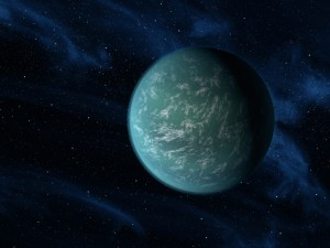 This artist's conception illustrates Kepler-22b, an earth-like planet known to comfortably circle in the habitable zone of a sun-like star. (Image: NASA/Ames/JPL-Caltech)