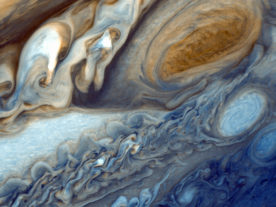 Close-up of swirling clouds around Jupiter's Great Red Spot (Photo: NASA/JPL)
