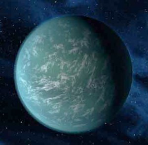 Discovered in 2011 this is an artist's concept of Kepler-22b, a planet known to comfortably circle in the habitable zone of a sun-like star. (Image: NASA/Ames/JPL-Caltech)