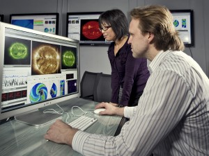 Chief space weather forecasters Yihua Zheng and Antti Pulkkinen are helping to implement a computer technique — ensemble forecasting — that will improve NASA's ability to predict the path and impact of severe solar storms. (Photo: NASA/Chris Gunn)