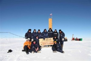 Russian researchers at the Vostok station in Antarctica after reaching subglacial Lake Vostok. (Photo: AP/Arctic and Antarctic Research Insitute of St. Petersburg)