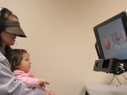 A baby participates in the study of language acquisition. (Photo: University of Pennsylvania)