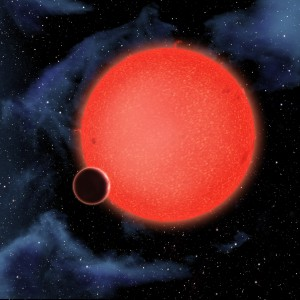 Artist's conception of exoplanet GJ1214b orbiting a red dwarf star 40 light-years from Earth (Photo: David A. Aguilar (CfA))