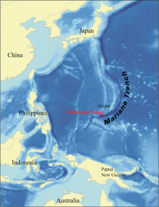 Map showing the location of the Challenger Deep in the Mariana Trench (Image: Karl Musser via Wikipedia Commons)