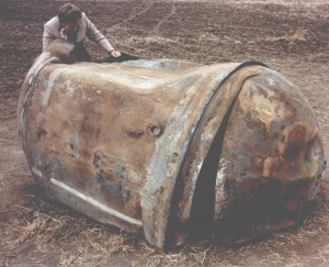 Delta 2nd Stage Stainless Steel Cylindrical Propellant Tank; landed in Georgetown, TX (Photo: NASA Orbital Debris Program Office)