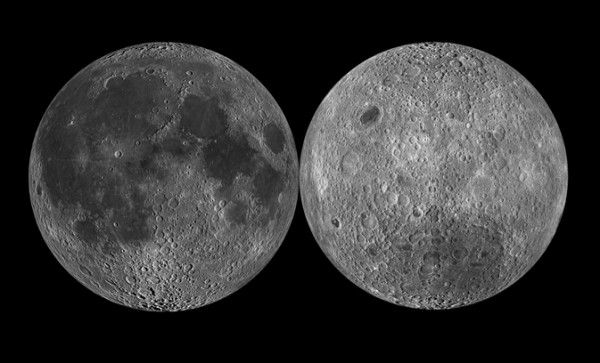 The moon's near side (left) is covered with dark splotches of lunar maria that look like a man's face when seen from Earth. The moon's far side (right), with its many craters and elevated topography, looks quite different. (Photo: NASA)