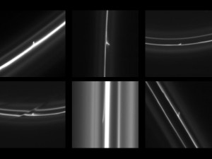 This set of six images obtained by NASA's Cassini spacecraft shows trails that were dragged out from Saturn's F ring by objects about 1 kilometer in diameter. (Photo: NASA/JPL-Caltech/SSI/QMUL ) (Click image for larger view)