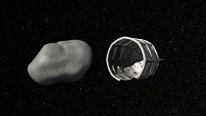 This computer-generated image shows a conceptual rendering of a Planetary Resources spacecraft preparing to capture a water-rich, near-Earth asteroid - click on image to increase size - (AP Photo/Planetary Resources)
