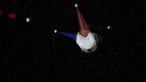 This computer-generated image shows a conceptual rendering of satellites prospecting a water-rich, near-Earth asteroid. - Click for large image - (AP Photo/Planetary Resources)
