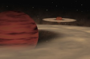 Artist's impression of what a rogue double system of planetary objects might look like. While the two planetary objects do not orbit around a star, they do appear to circle each other instead. (Image: ESO)