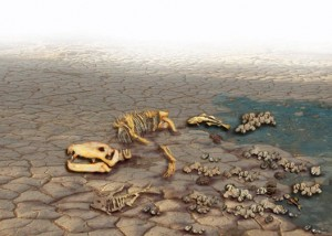 "Artist rendering of the ""Great Dying"" in which 90% of all marine species are thought to have perished. (Image: Lunar and Planetary Institute)"