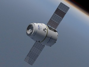 Artist rendering of the Dragon Spacecraft with Solar Panels deployed (Image: SpaceX)
