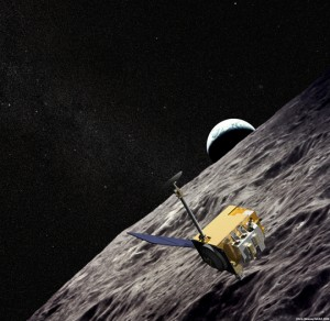 Artist Concept of the unmanned Lunar Reconnaissance Orbiter currently orbiting and mapping the moon at 50 kilometers from lunar surface. (Image: NASA)