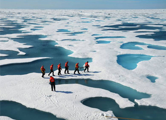 The shallow but extensive ponds that form on Arctic sea ice when its snow cover melts in the summer. (US Army)