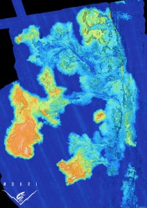 Map showing some of the new lava flows erupted at Axial Seamount in 2011. Dark blue areas are where there is no depth change, light blue indicates a lava thickness of 3-5 meters, and orange areas show where the lava thickness is as much as 15 meters. (Image: Dave Caress, Monterey Bay Aquarium Research Institute, Copyright 2011 MBARI)