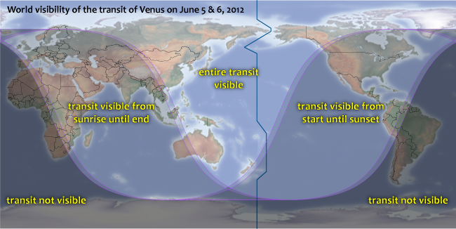 World map show visibility of transit of Venus on June 5-6, 2012. (Map: Michael Zeiler)