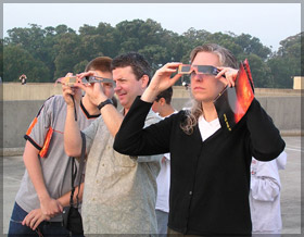 If you want to watch the transit of Venus be sure to take precautionary measures.  These people, for example are using solar viewing glasses to safely view the Sun. (Photo: NASA)
