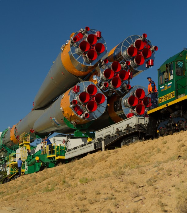 The Soyuz TMA-05M spacecraft is rolled out by train on its way to the launch pad at the Baikonur Cosmodrome in Kazakhstan July 12, 2012. This spacecraft, launched July 15 took astronauts to the International Space Station (Photo:NASA/Carla Cioffi)