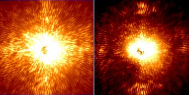 These two images show HD 157728, a nearby star 1.5 times larger than the sun. Its light has been mostly removed by an adaptive optics system and coronagraph belonging to Project 1640. The left, image was made without the ultra-precise starlight control that Project 1640 is capable of, while the right image was made while the starlight control was in place. (Images: Project 1640)