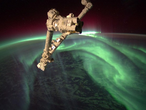 Photo of Aurora Australis or the Southern Lights, taken from the International Space Station, flying an altitude of approximately 240 miles. The ISS's Canadarm2 robot arm is in the foreground. (Photo: NASA)