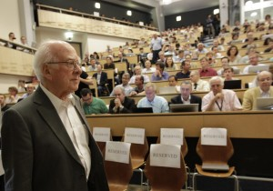 Physicist Peter Higgs arrives at a seminar, July 4, 2013 at CERN where it was announced that a new subatomic particle, said be consistent with the long-sought Higgs boson, had been discovered. (Photo: AP Photo/Denis Balibouse, Pool)