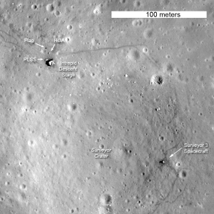 Apollo 12 landing site. Notice that the image also includes the Surveyor 3 unmanned spacecraft that landed on the moon April 20, 1967 (Image: NASA/GSFC/Arizona State University)