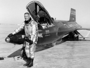 Test pilot Neil Armstrong with the rocket-powered X-15-3 aircraft (Photo: NASA)