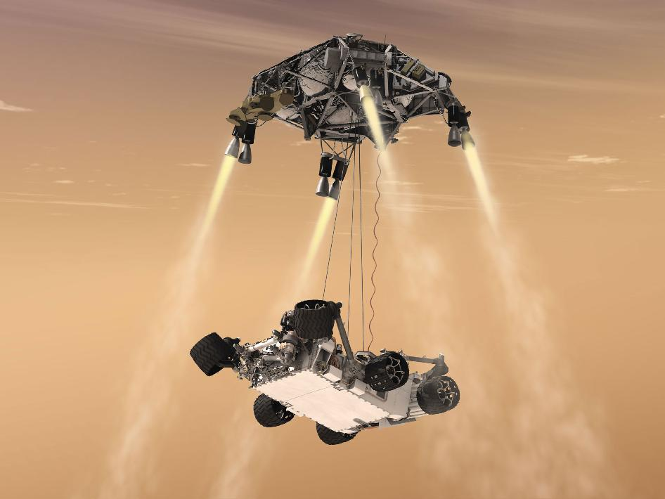 This artist's concept shows the sky crane maneuver during the descent of NASA's Curiosity rover to the Martian surface. (Image: NASA/JPL-Caltech)