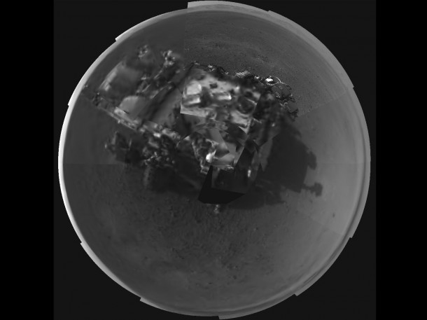 NASA's new Mars rover Curiosity's takes a panoramic picture of itself by its navigation cameras. The picture is actually a mosaic of multple shots taken by the Mars rover. (Image: NASA/JPL-Caltech)