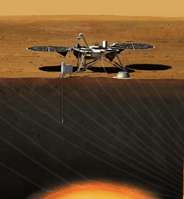 Artist rendition of the InSight Lander at work on the surface of Mars. (Photo: JPL/NASA)