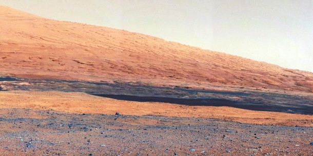 This image taken by the Mast Camera (MastCam) on NASA's Curiosity rover highlights the interesting geology of Mount Sharp, a mountain inside Gale Crater, where the rover landed. (Photo: NASA/JPL-Caltech/MSSS)