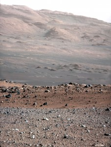 Up close is the gravelly area around the Curiosity's landing site in Gale Crater, in the distance is Mt. Sharp. (Photo: NASA/JPL-Caltech/MSSS)