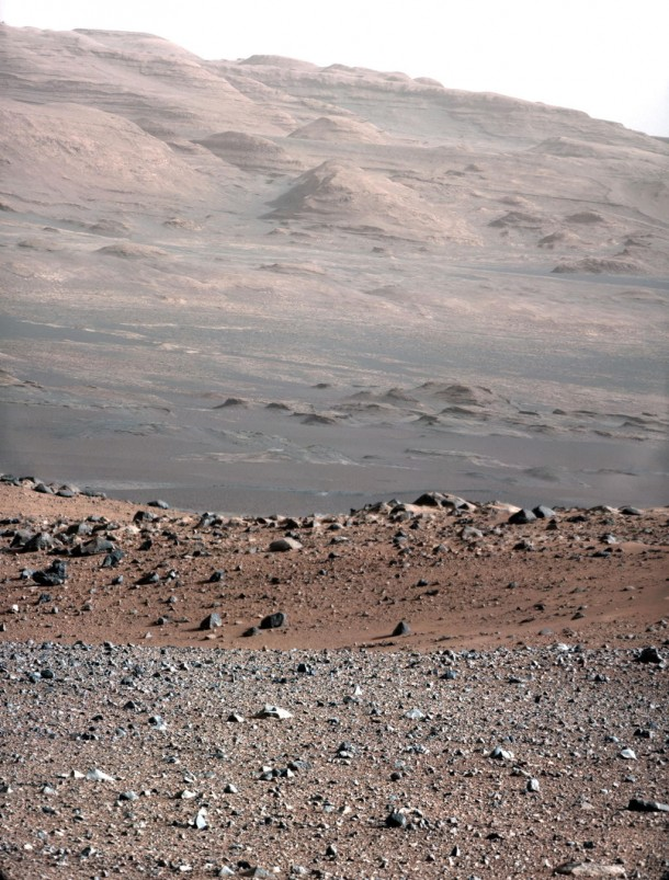 Photo was taken to test the 100-mm Mast Camera on NASA's Curiosity rover. Up close in the image is the gravelly area around the rover's landing site in the distance is Mt. Sharp, Curiosity's eventual destination. (Photo: NASA/JPL-Caltech/MSSS)