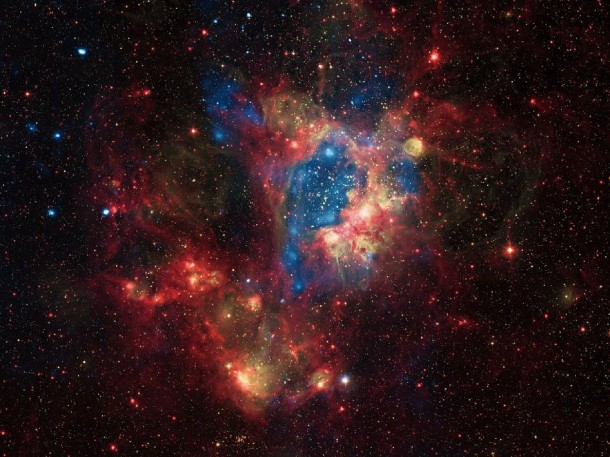 A composite image taken by NASA's Chandra X-ray Observatory shows a superbubble in the Large Magellanic Cloud (LMC), The massive stars produce intense radiation, expel matter at high speeds, and race through their evolution to explode as supernovas. The winds and supernova shock waves carve out huge  cavities called superbubbles in the surrounding gas. (Photo: NASA)