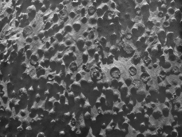 "While the Mars rover Curiosity is the center of attention right now, Opportunity, a rover that has been on the Red Planet since January 2004 recently sent images of a collection of little spheres that scientists nicknamed 'blueberries'.  These puzzling little objects were found on an outcrop of rock called ""Kirkwood"" and each is about 3 millimeters in diameter. (NASA/JPL-Caltech/Cornell Univ. / USGS/Modesto Junior College)"
