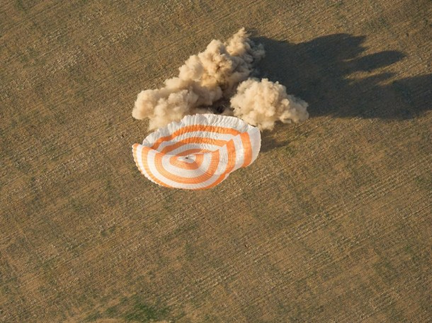 The Soyuz TMA-04M spacecraft with ISS Expedition 32 Commander Gennady Padalka of Russia, NASA Flight Engineer Joe Acaba and Russian Flight Engineer Sergei Revin lands in a remote area near the town of Arkalyk, Kazakhstan, on Sept. 17, 2012 (Kazakhstan time). (Photo: NASA/Carla Cioffi)