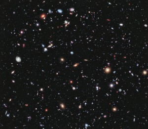 "The farthest-ever view of the universe. Hubble's ""extreme Deep Field (XDF) is a composite made from 2,000 images, taken by the Hubble Space Telescope over a 10 year period. (Credit: NASA; ESA; G. Illingworth, D. Magee, and P. Oesch, University of California, Santa Cruz; R. Bouwens, Leiden University; and the HUDF09 Team)"