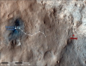 "Photo of the Martian surface that includes a map of the route driven by NASA's Mars rover Curiosity from it's landing site on the first day of its trip to the ""Glenelg"" area through the 43rd Martian day, or sol, of the rover's mission on Mars (Sept. 19, 2012). The image used for the map is from an observation of the landing site by the High Resolution Imaging Science Experiment (HiRISE) instrument on NASA's Mars Reconnaissance Orbiter. (Image: NASA/JPL-Caltech/Univ. of Arizona)"