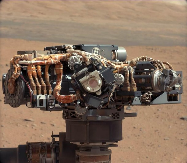 With the Martian landscape in the background this is the Mars Hand Lens Imager (MAHLI), one of seventeen cameras on NASA's Curiosity rover. The photo was recently taken by the rover's Mast Camera – MastCam (Photo: NASA/JPL-Caltech/MSSS)